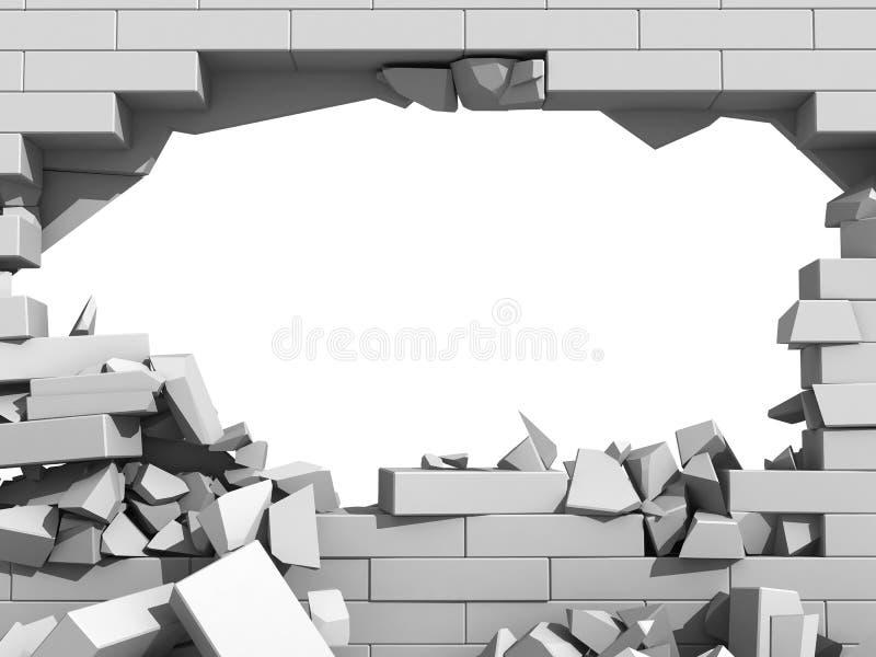 Muro de cimento de desintegração com furo ilustração do vetor