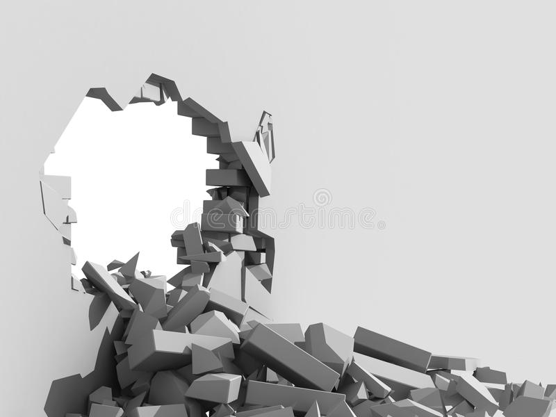 Muro de cimento de desintegração com furo ilustração stock