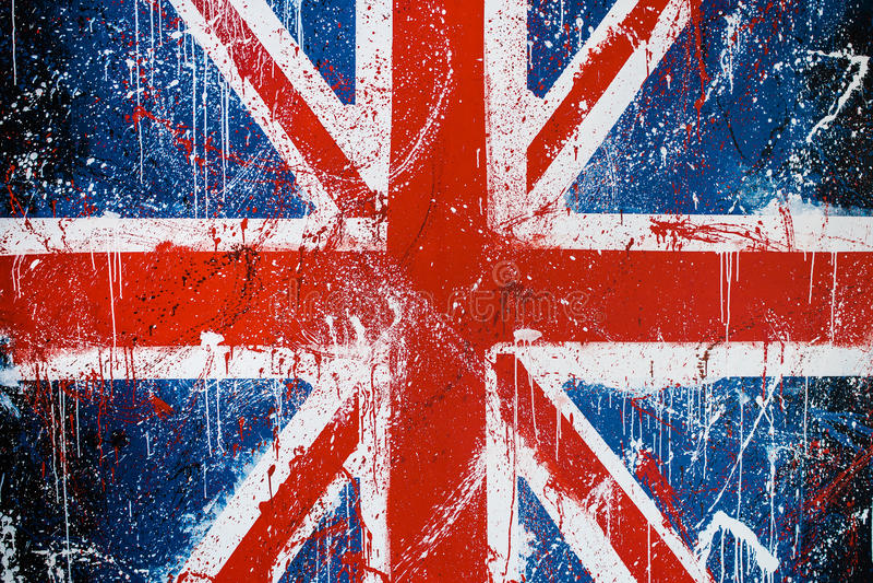 Muro de cimento pintado com grafittis da bandeira britânica fotos de stock royalty free