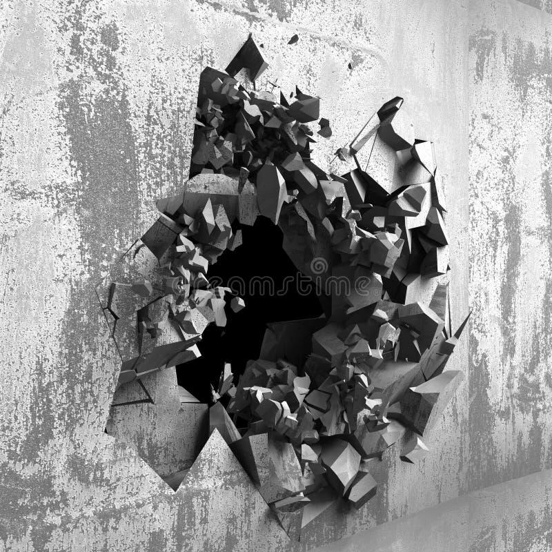 Muro de cimento rachado com furo da explosão da bala ilustração do vetor