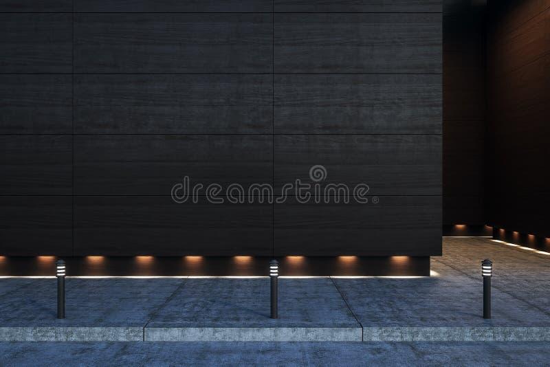 Muro de cimento vazio escuro fora foto de stock