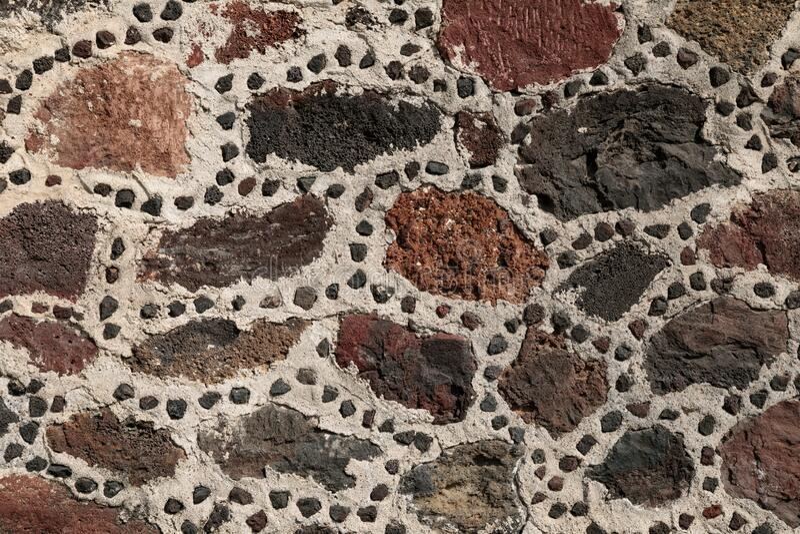 Muro de pedra da pirâmide aztec, Teotihuacan, México imagem de stock royalty free