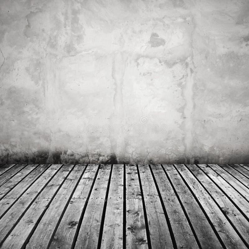 Muro Di Cemento Bianco E Pavimento Di Legno Grigio Scuro Fotografia Stock - Immagine di ...