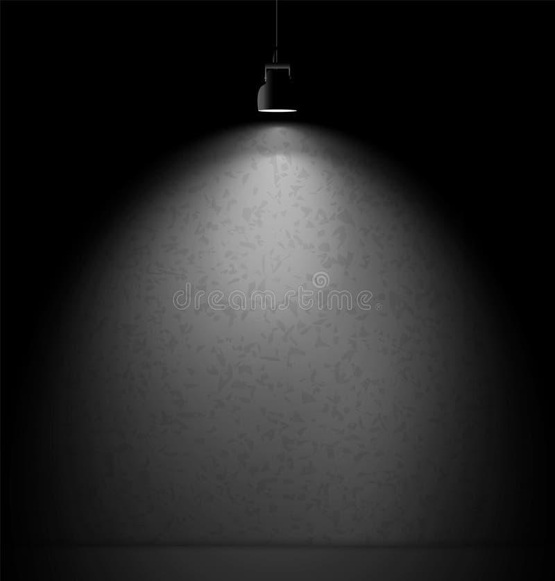 Muro di cemento illuminato con il proiettore del riflettore illustrazione vettoriale
