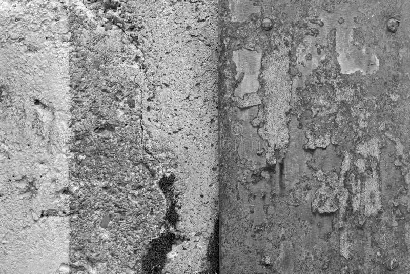 Muro di cemento stagionato e lamiera sottile arrugginita immagine stock