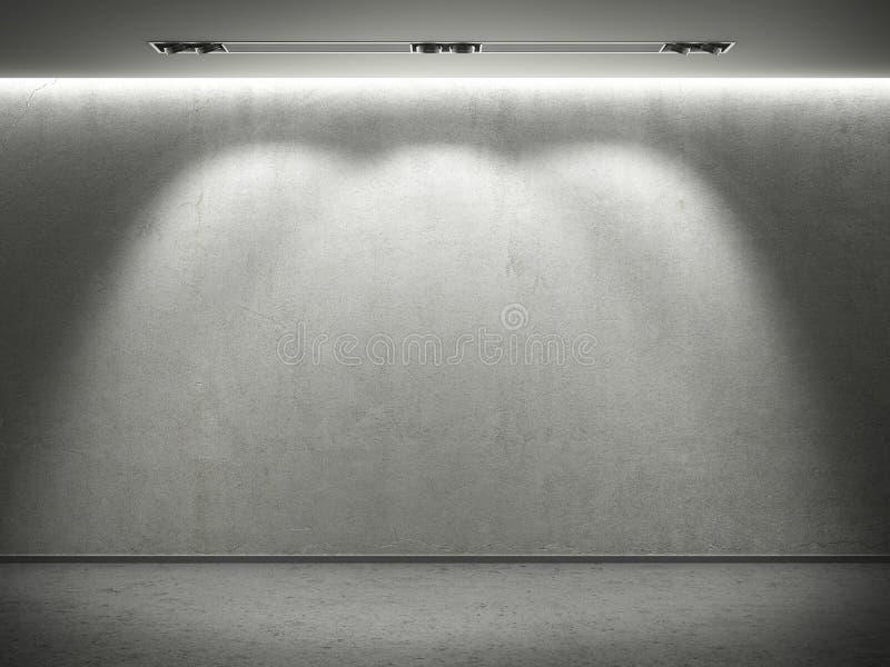 Muro di cemento vuoto con 3 indicatori luminosi del punto illustrazione di stock