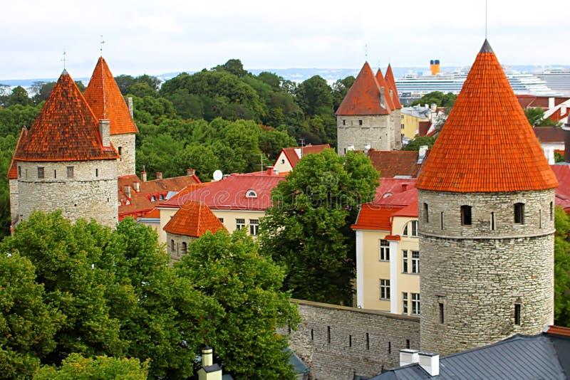 Muro di cinta di Tallinn di vecchia città Vista aerea dell'orizzonte di Tallinn, Estonia fotografie stock libere da diritti