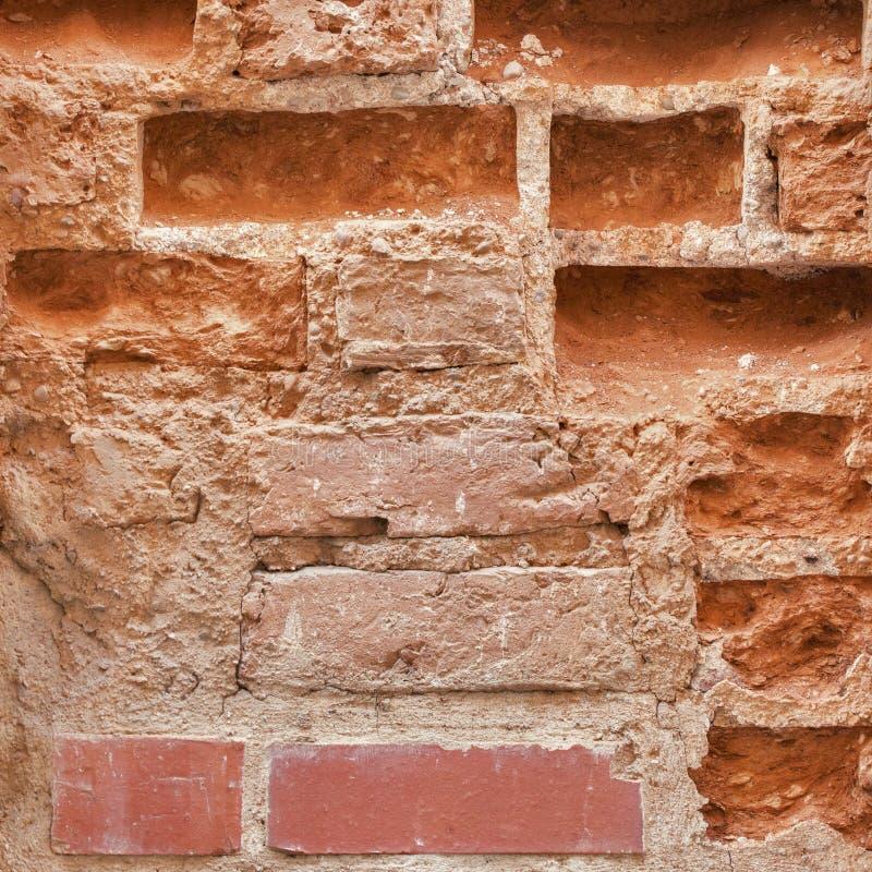 Muro di mattoni abbandonato primo piano fotografia stock