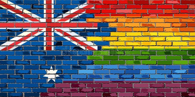Muro di mattoni Australia e bandiere gay royalty illustrazione gratis