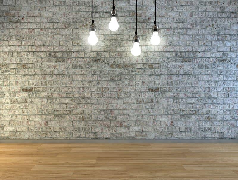 Muro di mattoni in bianco con il posto per testo illuminato dalle lampade qui sopra immagini stock