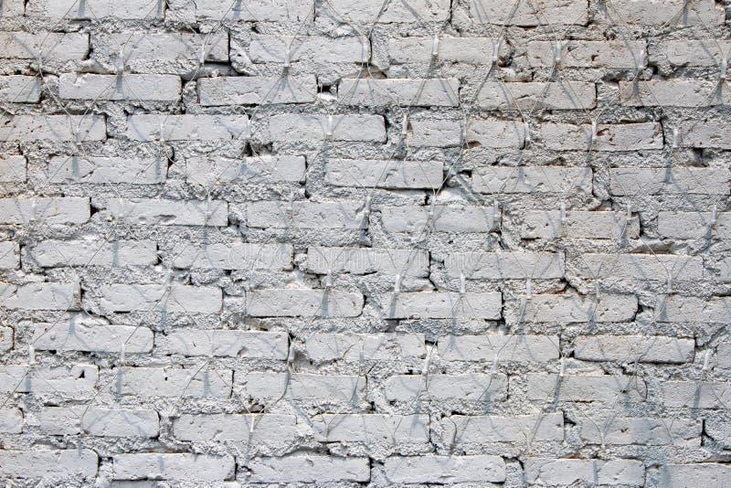 Muro di mattoni bianco, struttura della muratura imbiancata come fondo fotografie stock libere da diritti