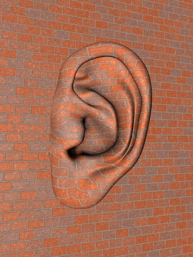 Muro di mattoni con il grande orecchio illustrazione di stock