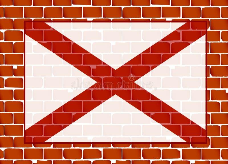 Muro di mattoni con la bandiera dello stato dell'Alabama royalty illustrazione gratis