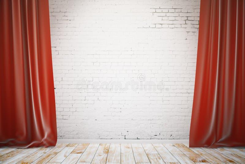 Muro di mattoni con le tende rosse royalty illustrazione gratis