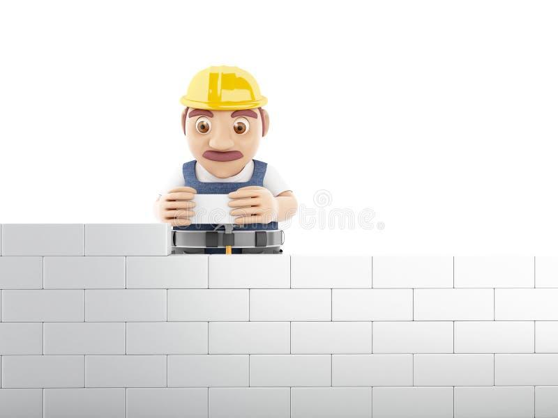 muro di mattoni della costruzione del lavoratore 3d al cantiere illustrazione vettoriale
