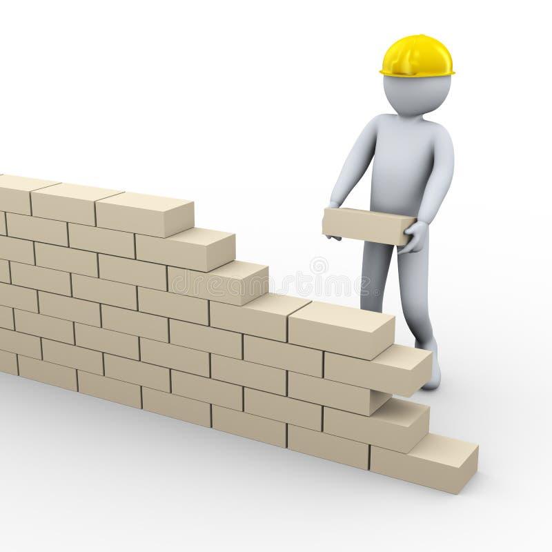 muro di mattoni della costruzione dell'uomo 3d illustrazione di stock