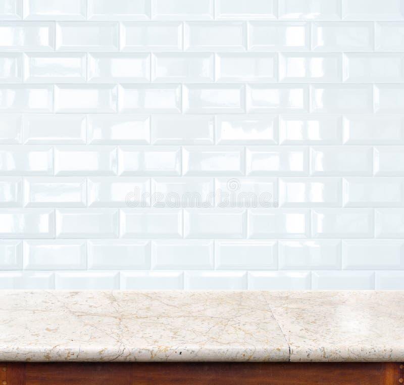 Muro di mattoni di marmo vuoto della piastrella di ceramica e della tavola nel fondo PR illustrazione vettoriale