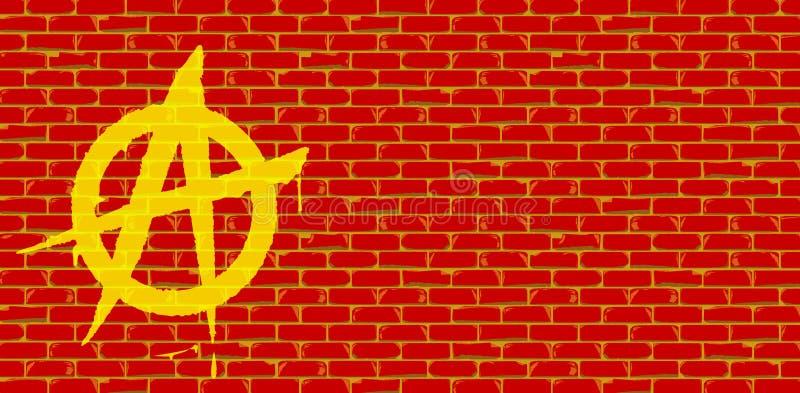 Muro di mattoni di rosso dei graffiti di anarchia royalty illustrazione gratis