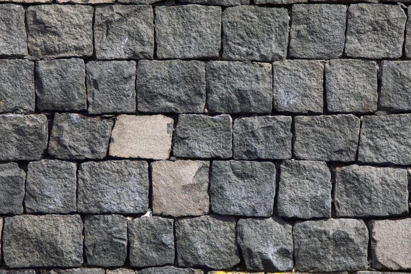 Muro di mattoni fatto della pietra della lava Fondo di pietra immagini stock