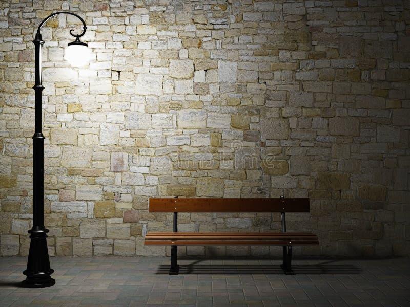 Muro di mattoni illuminato con l'indicatore luminoso ed il banco di via illustrazione vettoriale