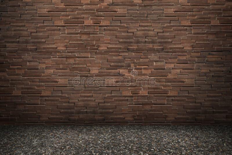 muro di mattoni moderno di marrone scuro con il pavimento dell'asfalto per il modello fotografie stock libere da diritti