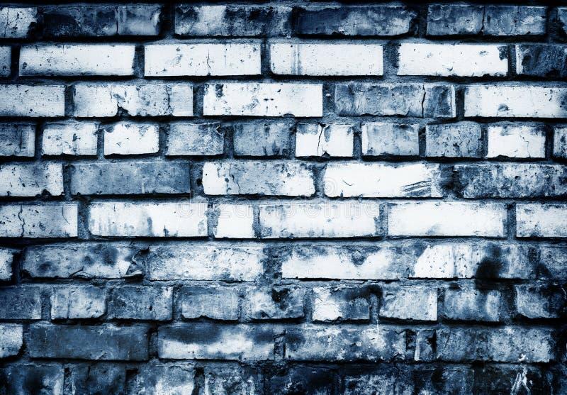 Muro di mattoni nei toni blu fotografie stock