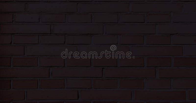 Muro di mattoni nero, fondo scuro per progettazione Parte del muro di mattoni dipinto il nero vuoto fotografie stock