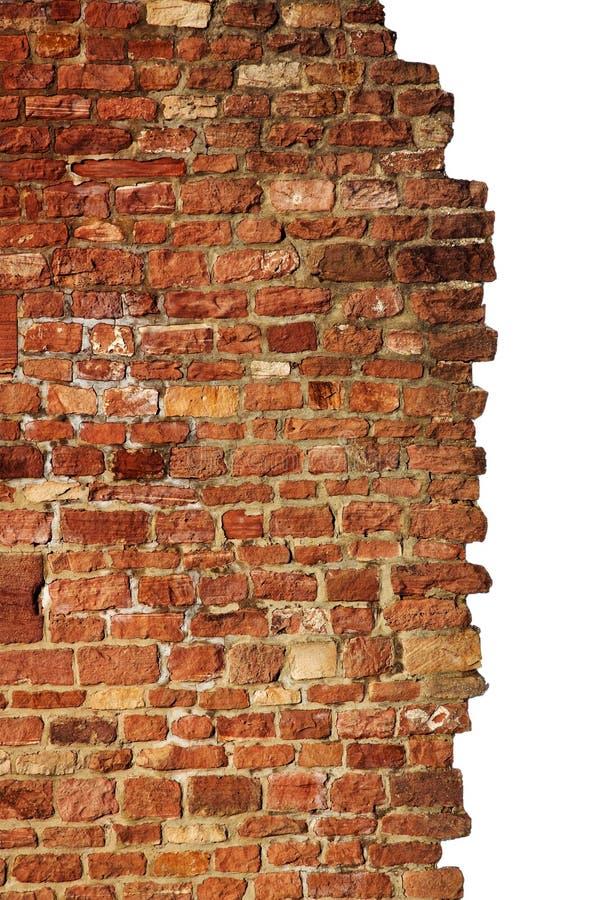 Muro di mattoni isolato, rosso & vecchio immagini stock