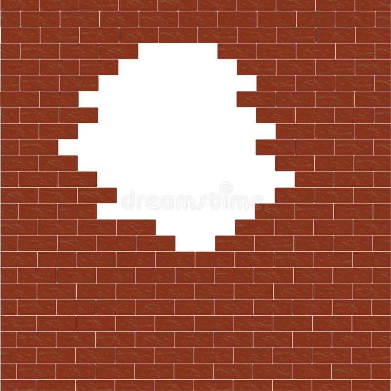 Muro di mattoni rotto Foro nella parete illustrazione di stock