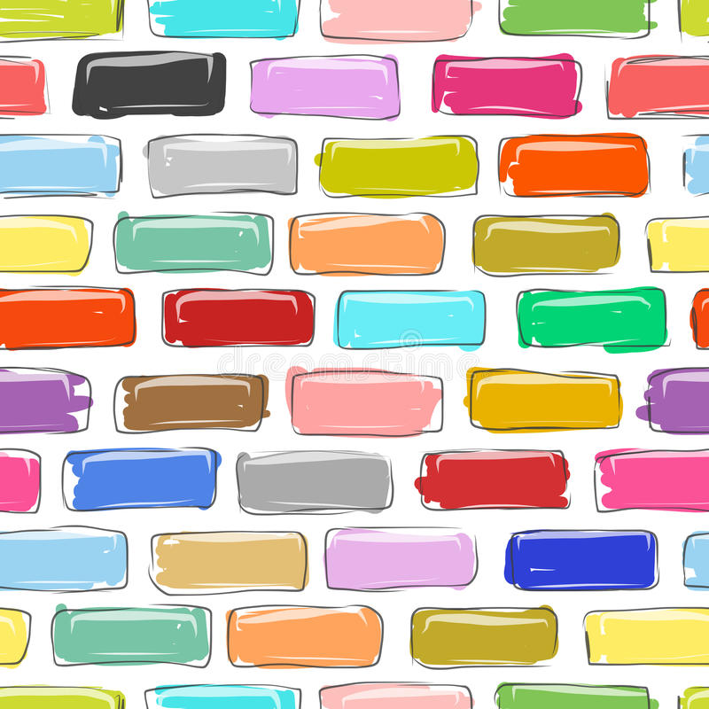 Muro di mattoni variopinto, schizzo per la vostra progettazione royalty illustrazione gratis