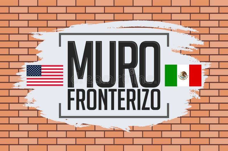 Muro Fronterizo, текст испанского языка стены границы иллюстрация вектора