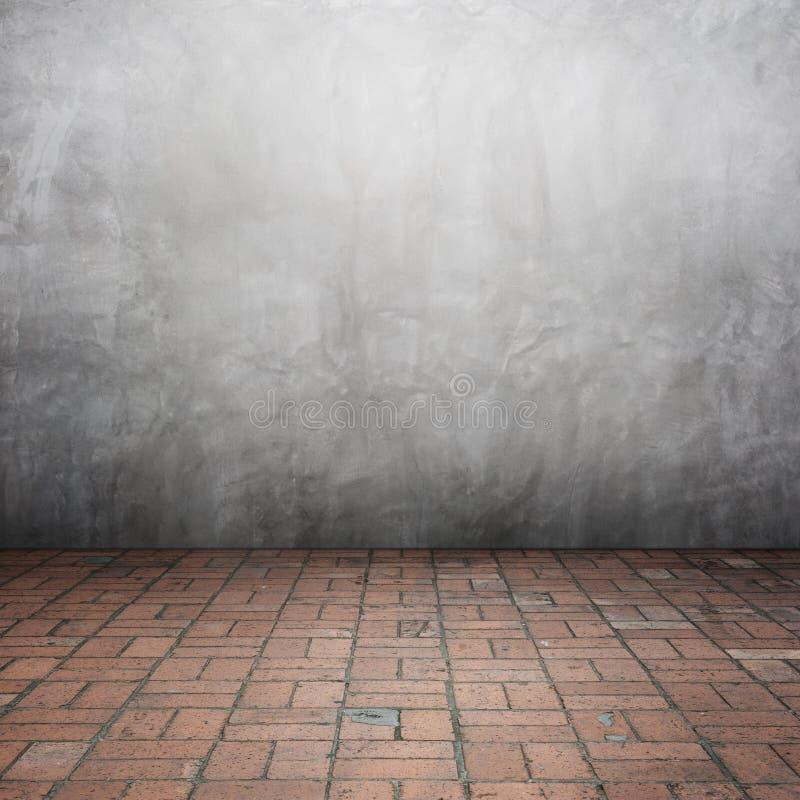 Muros de cemento y piso de madera para el texto y fondo para sus paredes del houseConcrete y piso del ladrillo para el texto y el ilustración del vector
