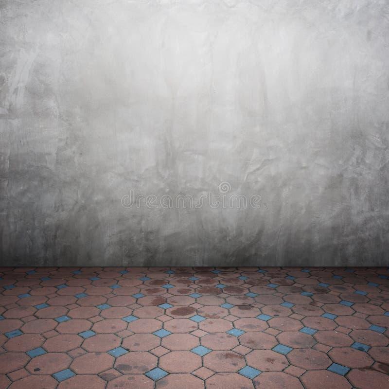 Muros de cemento y piso del ladrillo para el texto y el fondo libre illustration