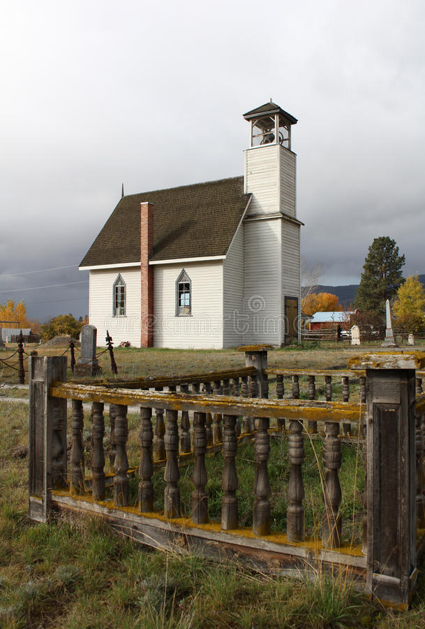 Murray Church, Nicola, British Columbia. Looking past the graveyard of the Murray United Church in the Nicola Valley near Nicola Lake, British Columbia, Canada stock image