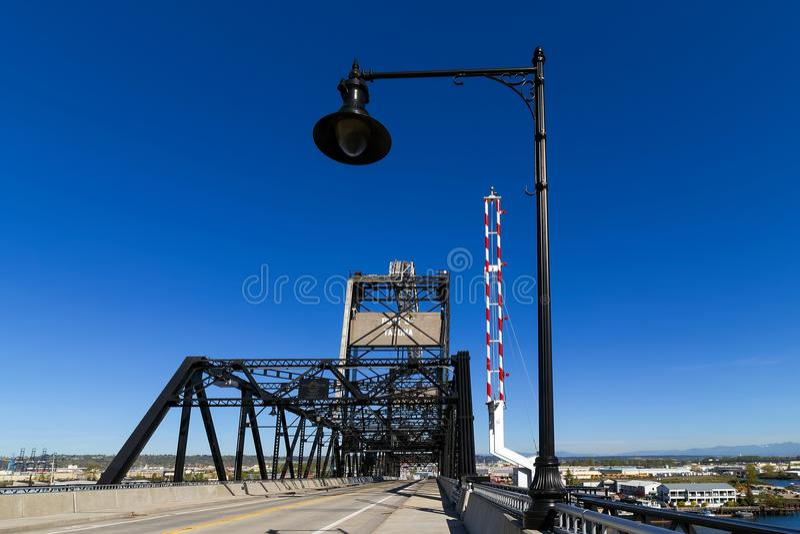 Murray Morgan Bridge am Hafen von Tacoma in Staat Washington lizenzfreies stockfoto