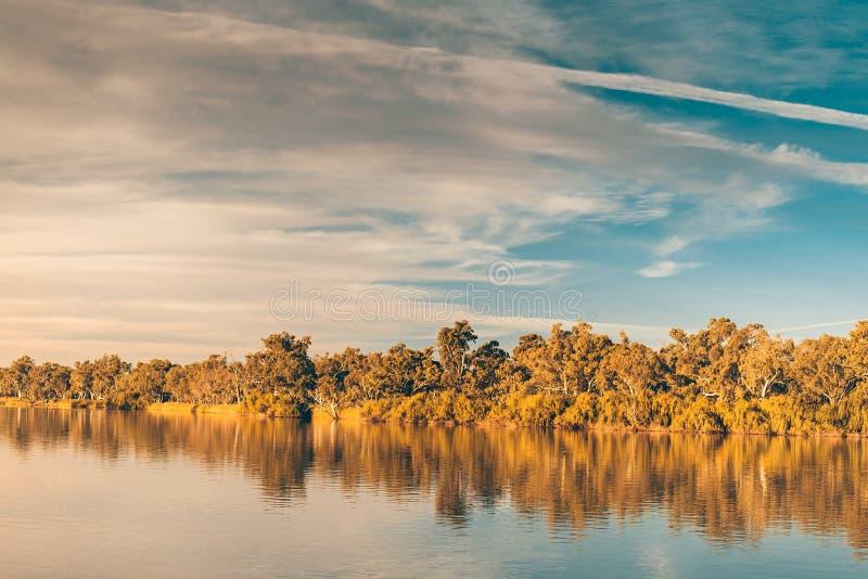Murray River al tramonto fotografia stock libera da diritti
