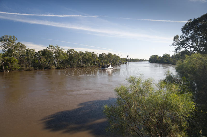 Murray river in flood. Paddle boats on the Murray river at Mildura, Australia after recent heavy rains and flooding in early 2011 royalty free stock photo