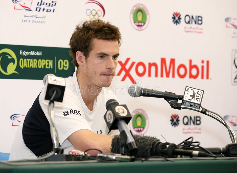 Murray at winners press conference stock photo