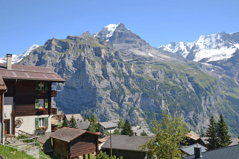 Murren mountain view royalty free stock photography