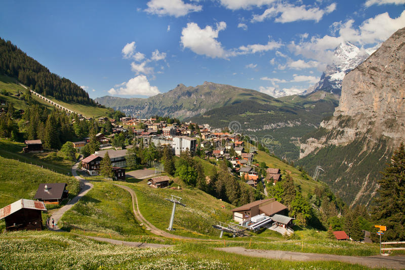 Murren in summer, Switzerland. Murren in summer, famous Swiss resort royalty free stock photography