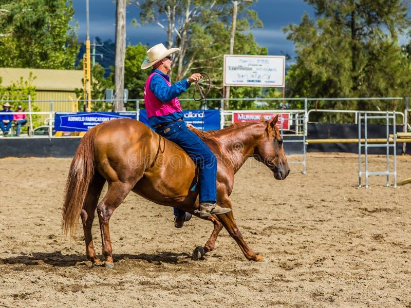 Murrurundi,NSW,澳大利亚,2018年2月24日:在范围无鞍自由式竞争的国王的竞争者 免版税图库摄影