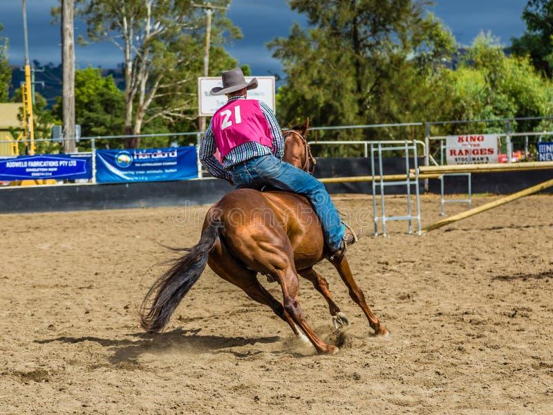 Murrurundi, NSW, Australien, am 24. Februar 2018: Konkurrent im König des Strecken-ungesattelten Freistil-Wettbewerbs stockfotos