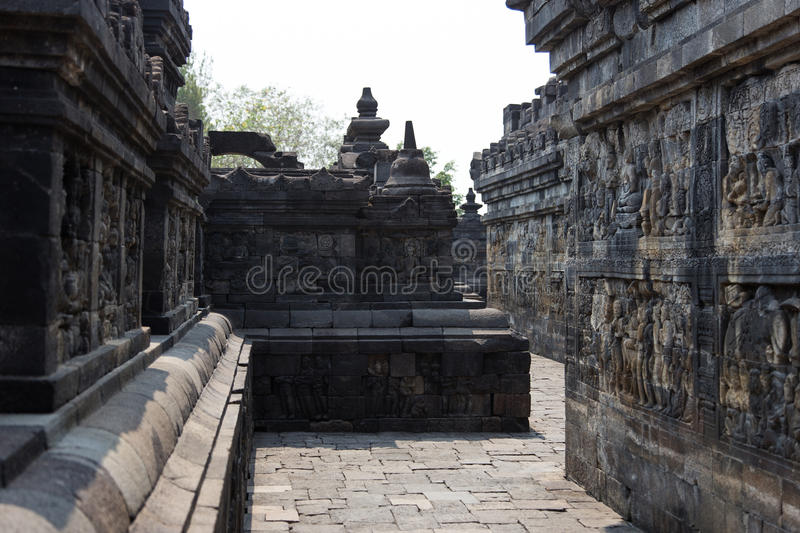 Murs avec des soulagements, temple de Borobudur, Java, Indonésie photos stock
