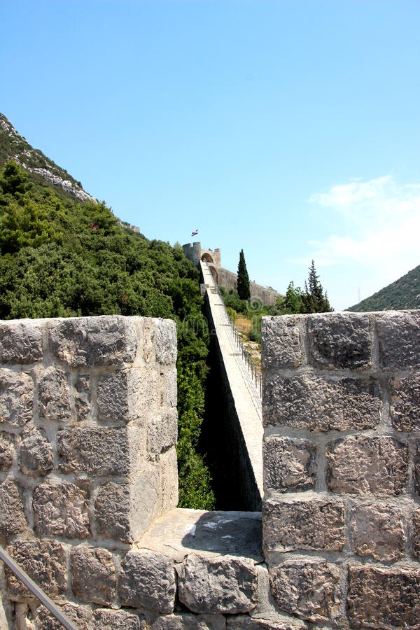 Murs défensifs de Ston Croatie photos libres de droits