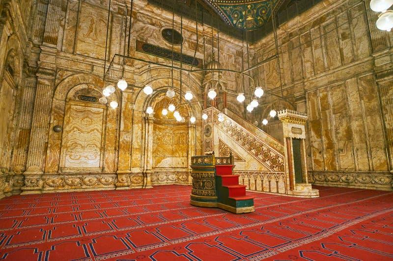Murs d'albâtre de Mahomet Ali Mosque, citadelle du Caire, Egypte images libres de droits