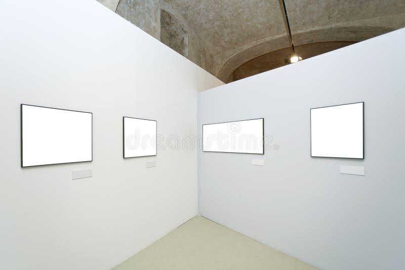 Murs dans le musée avec des trames photo stock