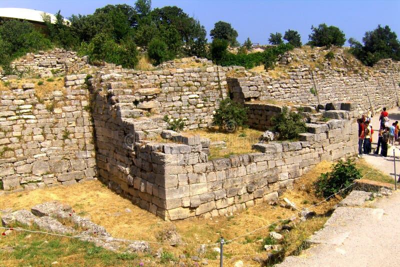 Murs dans Troie, la ville légendaire de Homer photo stock