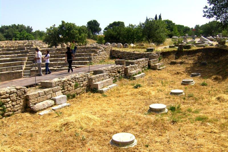 Murs dans Troie, la ville légendaire de Homer photos stock