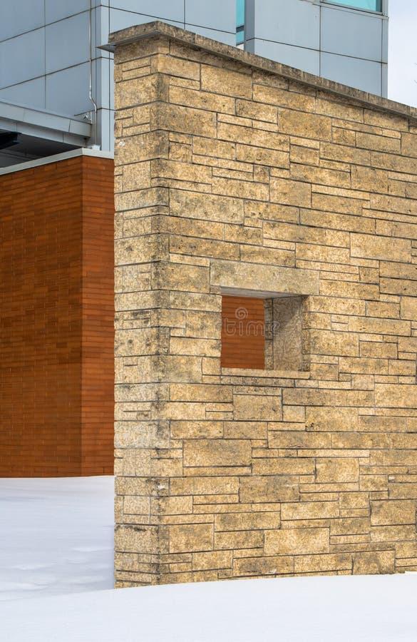 Murs de briques décoratifs aux sièges sociaux d'OPP dans Orillia images stock