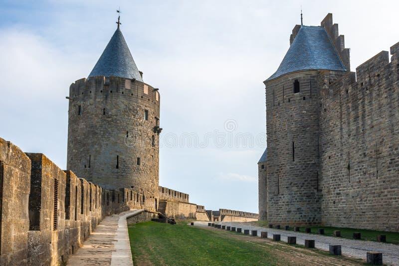 Murs de château Carcassone, France. image libre de droits